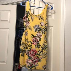 Never worn yellow floral mini dress